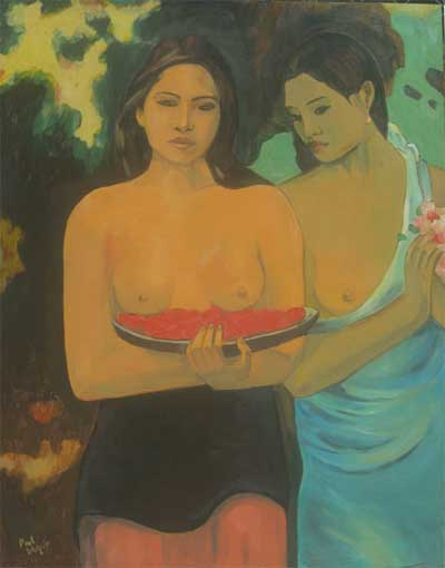 Dagani - Falso Gauguin - two tahitian women